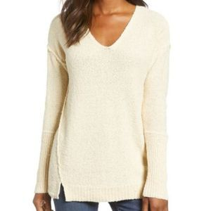 Caslon beige boucle tunic long sleeve sweater 9170